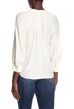 Raglan Pop Over Silk Top - White