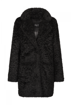 Gloria 3/4 Length Faux Fur Coat - Black
