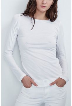 Zofina Gauzey Whisper Crew Neck T Shirt - White
