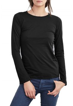 Zofina Gauzey Whisper Crew Neck T Shirt - Black