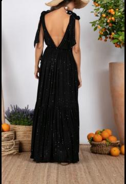 Fanya Long Short Sleeve Dress - Black