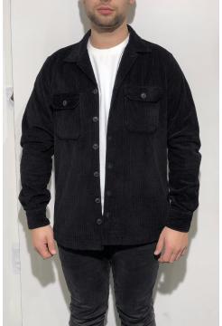 Jumbo Two Pocket Cord Over Shirt - Black