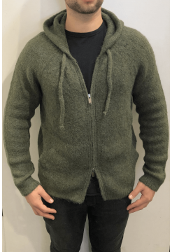 Alpaca and Merino Zip Hoody - Moss Khaki