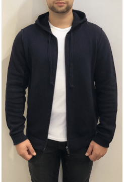 Self Ridge Stretch Merino Zip Hoody - Navy