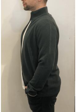 Fine Merino & Cashmere Textured Zip Cardigan - Black