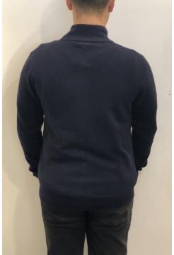 Fine Merino & Cashmere Textured Zip Cardigan - Navy