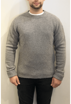 Cashmere & Merino Crewneck Boucle Sweater - Grey