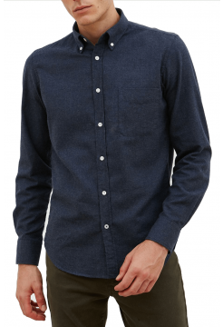 Button Down Flannel Shirt - Navy