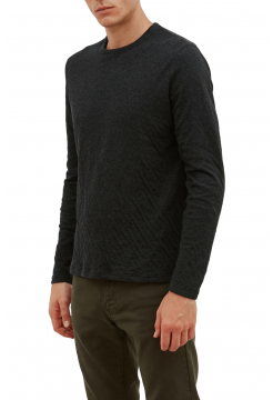 Double Faced Crew Sweater - Navy