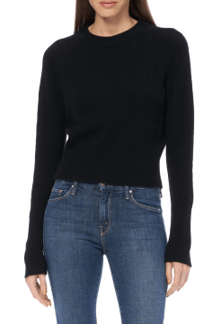 Jessika Short Crew Cashmere Sweater - Black