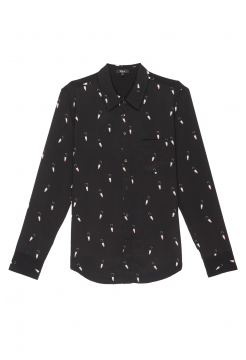 Lipstick Print Silk Shirt - Black