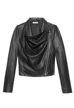 Kiln Leather Drape Jacket - Black