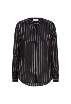 Bardot Band Collar Silk Blouse - Black