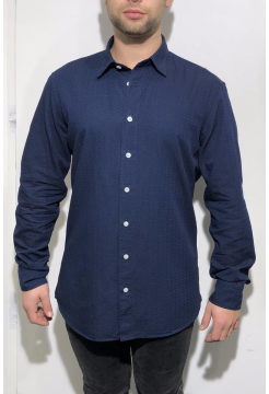 Box Print Heavy Cotton Shirt - Navy