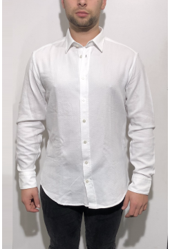 Embossed Cotton Shirt - White