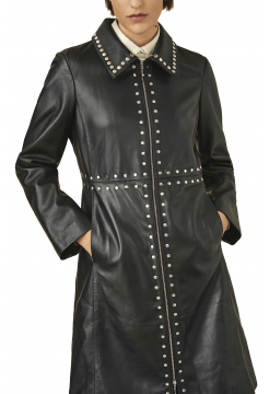 Studded Nappa Leather Jacket - Black