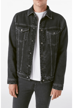 Lined Denim Trucker Jacket - Noir Black