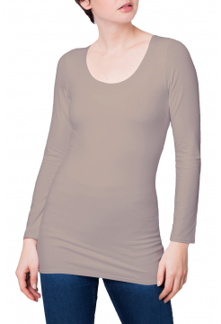 Zaza Double Fronted Scoop Neck Top - Beige