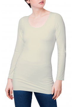 Zaza Double Fronted Scoop Neck Top - Ecru