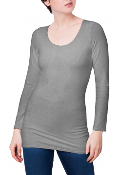 Zaza Double Fronted Scoop Neck Top - Heather Grey