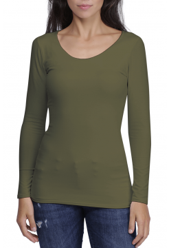 Zaza Double Fronted Scoop Neck Top - Khaki