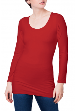 Zaza Double Fronted Scoop Neck Top - Red