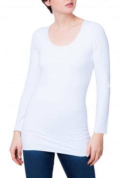 Zaza Double Fronted Scoop Neck Top - White