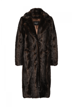 Marcella Belted Faux Mink Coat - Black