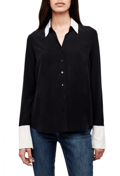 Mia Silk Fold Over Blouse - Black/Ivory