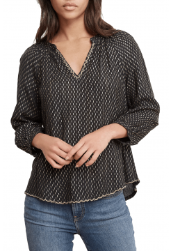 Milla Gold Printed Popover Blouse - Black Multi