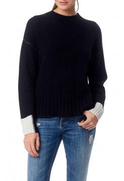 Nika Cashmere Cuff Detail Sweater - Black/Ecru