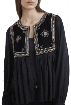 Nixi Embellished Drape Blouse - Black