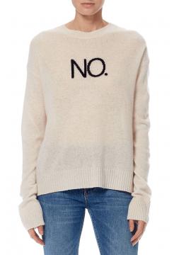 No. Print Cashmere Crew Sweater - Chalk