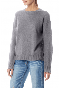 Oumie Cashmere Ribbed Crew Sweater - Heather Grey