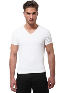 Short Sleeve V Neck T-Shirt - White