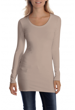 Sana Scoop Neck Long Sleeve Top - Beige