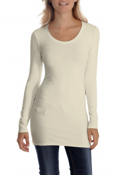 Sana Scoop Neck Long Sleeve Top - Ecru