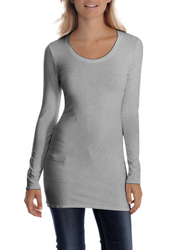Sana Scoop Neck Long Sleeve Top - Heather Grey
