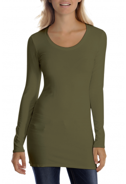 Sana Scoop Neck Long Sleeve Top - Khaki