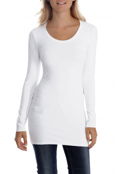 Sana Scoop Neck Long Sleeve Top - White