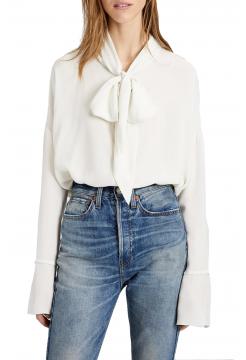 Classic Silk Scarf Shirt - Ivory