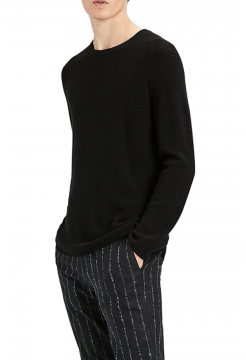 Cashmere Ribbed Raglan Sweater - Black
