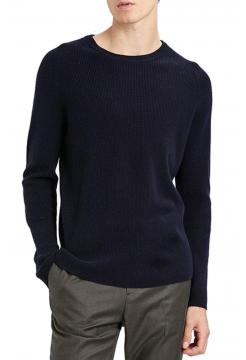 Cashmere Ribbed Raglan Sweater - Eclipse Navy
