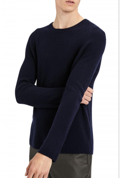 Cashmere Ribbed Raglan Sweater - Eclipse Navy
