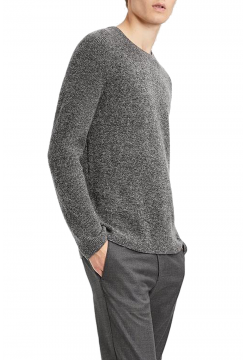 Cashmere Ribbed Raglan Sweater - Grey Mixed