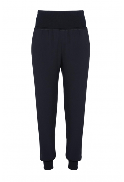Satin Crepe Ribbed Jogger Pant - Black