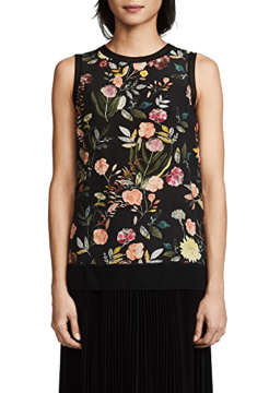 Lewie Printed Flower Sleeveless Top - Black Multi