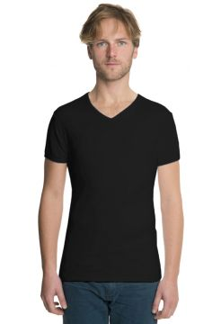 Short Sleeve V Neck T-Shirt - Black