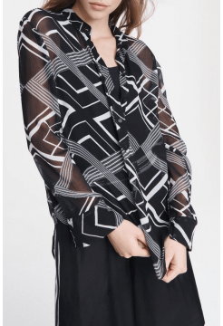 Scarlet Silk Print Blouse - Black / White