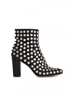 Bootroky Stud Suede Boots - Black/Silver